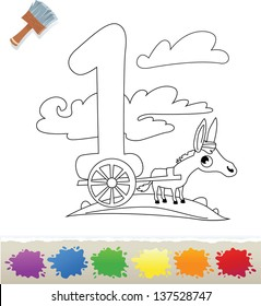 Collection Coloring Book for Kids: Number 1, Donkey
