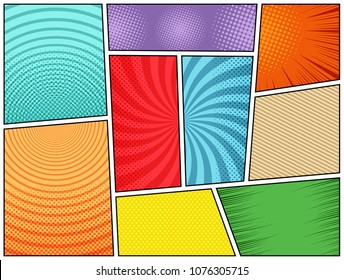 Collection of comic book backgrounds in different colors with radial, round, rays, slanted lines and halftone effects. Pop-art style. Blank template. Vector illustration