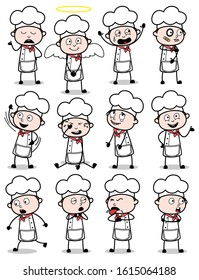 Collection of Comic Chef Poses and Actions - Set of Concepts Vector illustrations