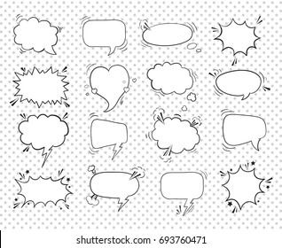 A collection of comic style speech bubbles. Vector illustration. Hand-draw, funny design.