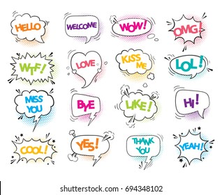 A collection of comic style speech bubbles with color text and shadow. Vector illustration. Hand-draw, funny design.