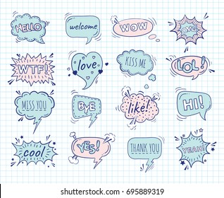 A collection of comic style speech bubbles on a sheet of exercise book. Vector illustration. Hand-draw doodle funny design.