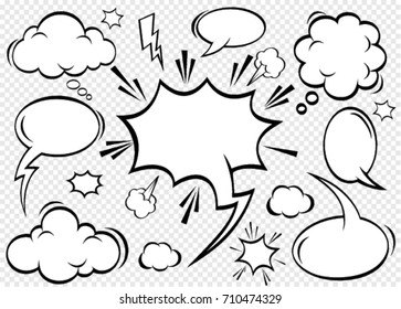 A collection of comic style speech bubbles