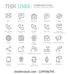 Collection of communication related line icons