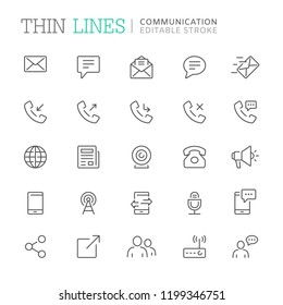 Collection of communication related line icons. Editable stroke