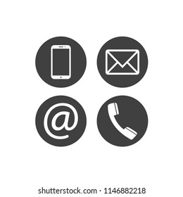 Collection of communication symbols. Contact, e-mail, mobile phone, message icons. Flat circle buttons. Vector illustration