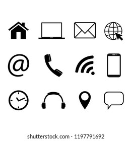 Collection of communication symbols. Contact, e-mail, mobile phone, message, wireless technology icons. Vector