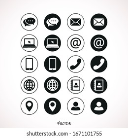 Collection of communication symbols. Contact, e-mail, mobile phone, message, wireless technology icons. Vector illustration