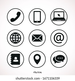 Collection of communication symbols. Contact, e-mail, mobile phone, message icons. Vector illustration