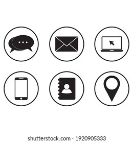 Collection of communication symbols. Contact, email, mobile phone, message icons.