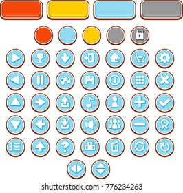 Collection of complete round button set for creating casual video games