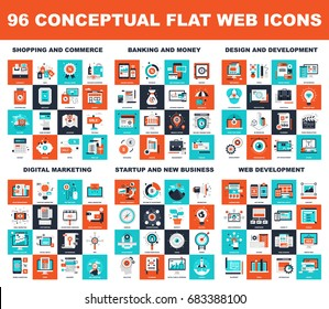 Collection of conceptual flat web icons. Icon pack includes - shopping and commerce, banking and money, design and development, digital marketing, startup and new business, web development themes.