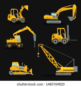 Collection of construction cranes, machines - vector