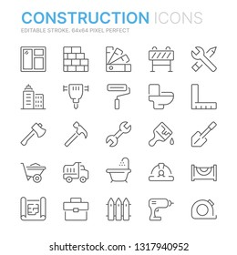Collection of construction related related line icons. 64x64 Pixel Perfect. Editable stroke