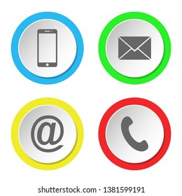 Collection of contact icon. Round flat buttons.