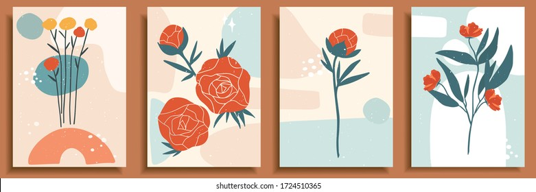 Collection of contemporary art posters in pastel colors. Abstract paper cut geometric elements, shapes and strokes, leaves, flowers and dots. Great design for social media, postcards, print.
