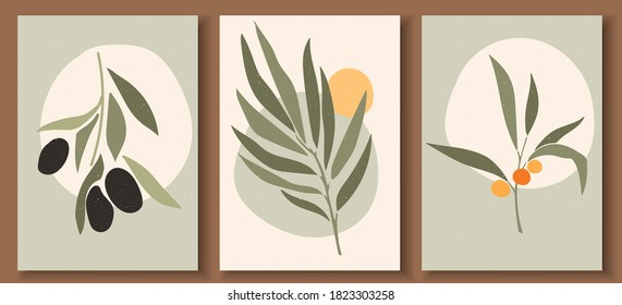 Collection of contemporary art posters in pastel colors. Abstract  geometric elements and strokes, leaves and berries, olive, tangerine. Great design for social media, postcards, print. - Shutterstock ID 1823303258