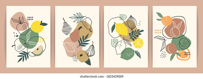 Collection of contemporary art prints. Abstract fruits. Apples, pears, apricots and lemons. Modern design for posters, cards, packaging and more