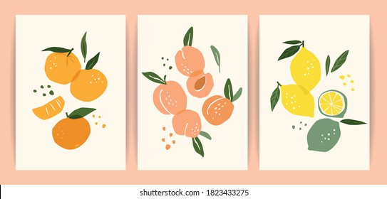 Collection of contemporary art prints. Abstract fruits. Oranges, pears and lemons. Modern design for posters, cards, packaging and more
