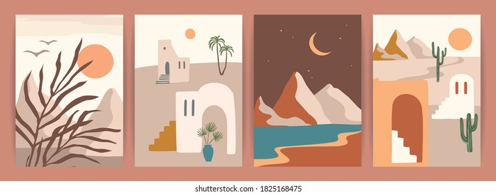 Collection of contemporary art prints with southern landscape. Mediterranean, North Africa. Modern vector design for posters, cards, packaging and more