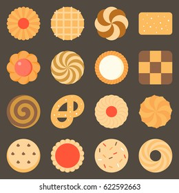 Collection of cookie and biscuits set 2, flat design