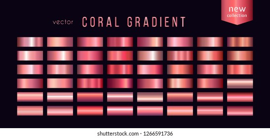 Collection of coral gradients, color 2019. Large set of fashion palettes for ribbon, cup, background, frame, banner, card, cover, label, flyer, etc Vector template
