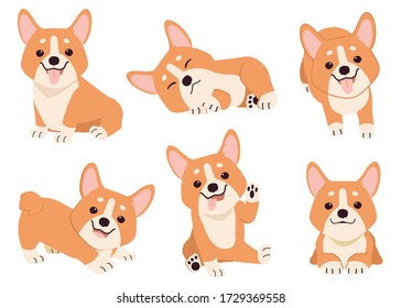 The collection of corgi in many action. Graphic resource about set of dogs corgi for graphic, content, etc.