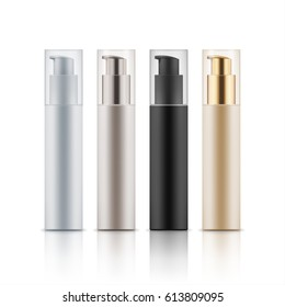 Collection of cosmetic bottles with dispenser for cream, foam in four colors, brand concept, mockup 3D realistic illustration, isolated on white background. Beauty, medicine, healthcare concept