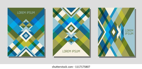 Collection of cover page layouts, vector templates geometric design with triangles and stripes. Ethnic mexican motifs. Bauhaus pattern vector covers design. Cool rhombus stripe triangle shapes.