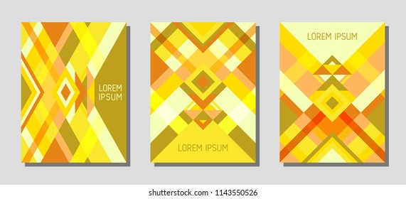Collection of cover page layouts, vector templates geometric design with triangles and stripes. Festive mexican motifs. Bauhaus pattern vector covers design. Trendy rhombus stripe triangle shapes.
