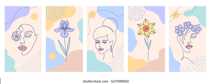 Collection of covers for social media stories, cards, flyer, poster, banners and other promotion.Beautiful illustrations with one line drawing style and abstract shapes. Beauty and fashion concept.