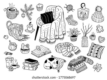 A collection of cozy vector doodles isolated on a white background. Hygge clipart in Scandinavian style. Cute autumn-winter and Christmas set of symbols of a warm and cozy home.