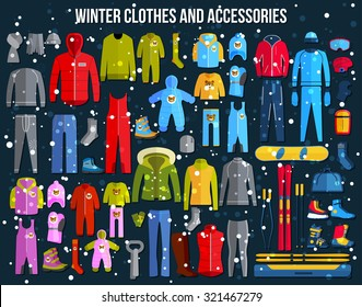 Collection of cozy winter clothes. Vector illustration