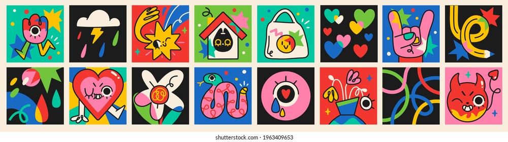 Collection of crazy Abstract comic characters elements and shapes. Bright colors Cartoon style. Vector Illustration