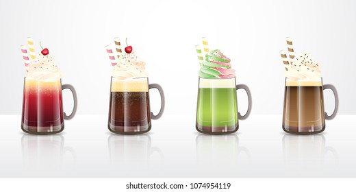 Collection ofice cream floatdrinks recipes in clear glass mugs, ideas for summer party beverages. Vector illustration.