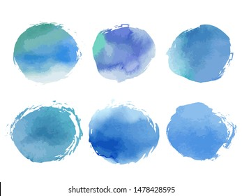 Collection of creative blue spots with watercolor texture. Stock vector set. Can be used for watercolor brushes. Abstract marine background. Hand drawn decorative elements. Water, sea, ocean, sky.