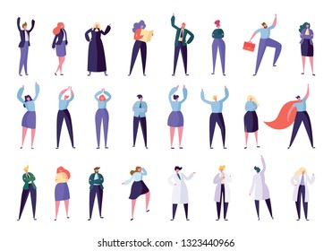 Collection Creative Character Success Leader Set. People in Various Lifestyle: Businessman Businesswoman Manager Lawye, Judge Doctor Nurse. Success in Work Flat Cartoon Vector Illustration