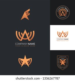 Collection of creative logos of A with star shapes