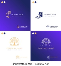 Collection of creative logotypes of trees and books
