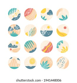Collection of creative social media highlight covers, travel theme. Design stories round icon with floral elements collection.Sea, sun, beach, sand, mountains abstract. Vector illustration.