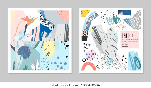 Collection of creative universal artistic cards. Hand Drawn textures. Trendy Graphic Design for banner, poster, card, cover, invitation, placard, brochure, flyer