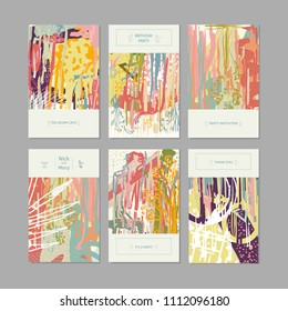 Collection of creative universal artistic cards. Creative hand drawn textures. Trendy Graphic Design for banner, poster, card, cover, invitation, placard, brochure, flyer. Vector