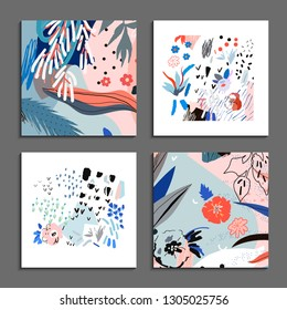 Collection of creative universal artistic cards. Hand Drawn textures. Trendy Graphic Design for banner, poster, card, cover, invitation, placard, brochure, flyer. Vector