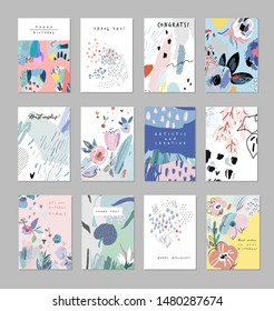 Collection of creative universal artistic cards. Trendy Graphic Design for banner, poster, card, cover, invitation, placard, brochure, flyer. Vector