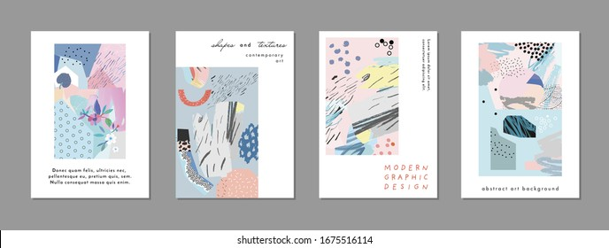 Collection of creative universal artistic cards. Hand Drawn textures. Trendy Graphic Design for banner, poster, card, cover, invitation, placard, brochure, flyer.
