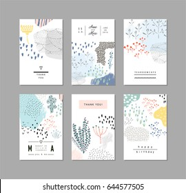 Collection of creative universal artistic floral cards. Hand Drawn textures. Trendy Graphic Design for banner, poster, card, cover, invitation, placard, brochure, header.