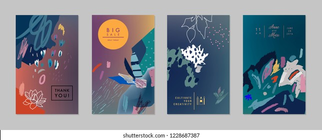 Collection of creative universal floral  artistic cards. Hand Drawn textures. Trendy Graphic Design for banner, poster, card, cover, invitation, placard, brochure, flyer. Vector