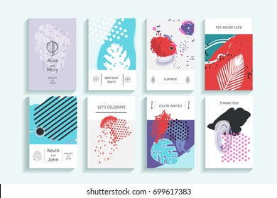 Collection of creative universal trendy cards. Hand Drawn textures. Modern Graphic Design for banner, poster, card, cover, invitation, placard, brochure, flyer. Vector isolated illustration.