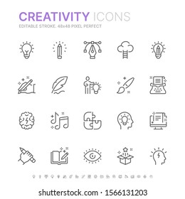 Collection of creativity related line icons. 48x48 Pixel Perfect. Editable stroke