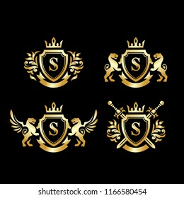 Collection of crown and shield on black background in vector EPS10